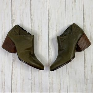 1. State Green Leather Studded Ankle Booties